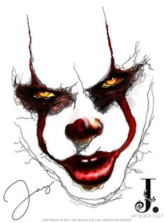 "Pennywise ""the clown from IT "" Scary Drawings, Joker Drawings, Dark Art Drawings, Drawing Cartoon Faces, Halloween Drawings, Tattoo Drawings, Gruseliger Clown, Creepy Clown, Creepy Art"