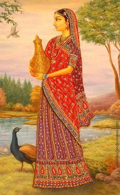 This Art poster is prepared by ISKCON desire tree for the pleasure of Srila Prabhupada and the devotee community. Mughal Paintings, Indian Art Paintings, Abstract Paintings, Oil Paintings, Arte Tribal, Tribal Art, Krishna Art, Krishna Painting, Radhe Krishna
