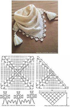 New Crochet Lace Scarf Ganchillo 63 Ideas Col Crochet, Crochet Lace Collar, Crochet Cowl Free Pattern, Crochet Beanie, Crochet Motif, Crochet Stitches, Free Crochet, Knitting Patterns, Crochet Patterns
