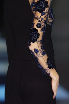 Giorgio Armani. Embroidery on sheer tulle is my drug of choice.