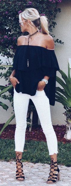 #summer #outfits Black Off The Shoulder Top + White Crop Jeans + Black Sandals