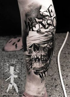 Realistic Skull Tattoo by Neon Judas | Tattoo No. 12092