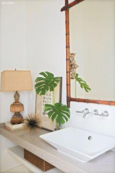 Tropical bathroom feel.                                                                                                                                                      More