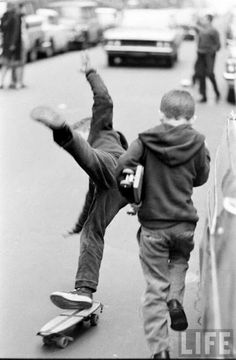 Boy falling from his skateboard, New York, 1960s. Photograph by Bill Eppridge.