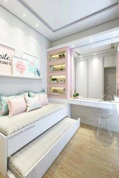 Teenage Girl Bedroom Ideas For Small Rooms. Need some teen bedroom ideas for gir. - Teenage Girl Bedroom Ideas For Small Rooms. Need some teen bedroom ideas for girls? Check out diffe - Bedroom Tv Stand, Small Room Bedroom, Trendy Bedroom, Modern Bedroom, Diy Bedroom, Bed Room, Bedroom Ideas For Small Rooms For Girls, Modern Teen Bedrooms, Small Teen Room