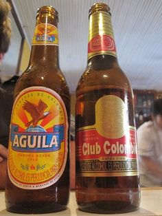 Columbian popular beers. Aguila is light. Club Columbian has more taste and is better with food.