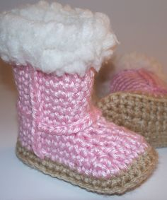 PATTERN Wool Trim Baby Uggie Booties di anniekscreations su Etsy