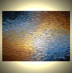 Original Abstract Art Gold Metallic Painting Palette Knife