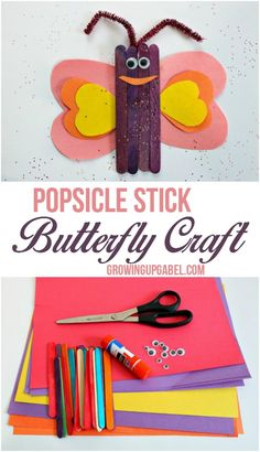 Grab the kids and a few basic craft supplies to make a cute popsicle stick butterfly craft! This kids craft is perfect for toddlers, preschoolers, kindergartners, and even elementary aged kids. It's a quick and easy craft that can also be turned into a magnet!