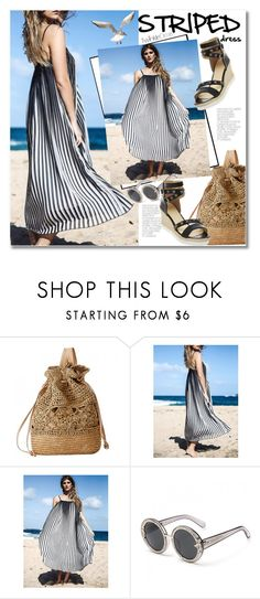 """Summer look - striped dress"" by svijetlana ❤ liked on Polyvore featuring striped, polyvoreeditorial and twinkledeals"