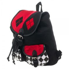 Every dangerous girl should keep supplies in this DC Comics Harley Quinn Knapsack now available at Flashback Gear. Products Details: This Harley Quinn knapsack is a great for back to school. Material: