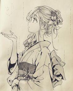 Uraraka in yukata Anime Drawings Sketches, Anime Sketch, Manga Drawing, Manga Art, Cute Drawings, Manga Anime, Anime Chibi, Anime Kimono, Kawaii Anime