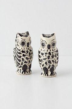 Handpainted Folk Owl Salt & Pepper Shakers