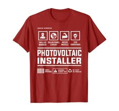 Photovoltaic Solar Panel Installer Handling Information T-Shirt Best Gift For Brother, Branded T Shirts, Solar Panels, Best Gifts, Amazon, Clothing, Mens Tops, Sun Panels, Outfits