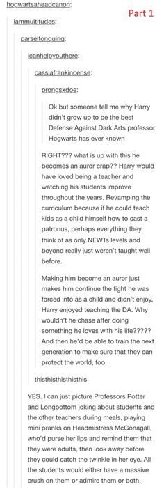 Part 1: Harry Potter as the Defense Against the Dark Arts teacher