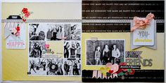 Double page layout based on a sketch from the June issue of Scrapbook Generation Digital Magazine. Scrapbook Titles, Scrapbook Sketches, Scrapbook Page Layouts, Card Sketches, Scrapbook Cards, Scrapbooking Ideas, Photo Layouts, Scrapbook Generation, Project Life Scrapbook