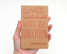 Pocket Moleskine . Hand-Lettered Calligraphy . Small Writing Journal . Red Ink on Brown Kraft . Write What Should Not Be Forgotten. $20.00, via Etsy.