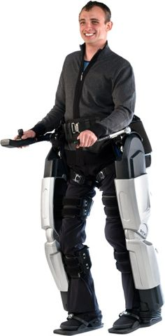 The robotic legs get wheelchair users to walk. It transfers from their chair into the Robotic Exoskeleton (Rex) it strap themselves in and use a had controlled joystick and control pad to maneuver the battery powered mobility assist device.
