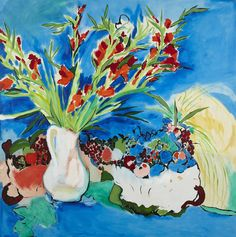 § PHILIP SUTTON R.A (BRITISH B.1928)   GLADIOLI WITH FRUIT  Signed and dated 1975 vero, oil on canvas  127cm x 127cm (50in x 50in)  Estimate £1,500-2,000   Provenance:Roland Browse and Delbanco, London  Sold for £3,500 (buyer's premium included)