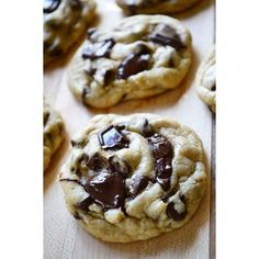 Chewy Chocolate Chunk Cookies. ❤ liked on Polyvore featuring food