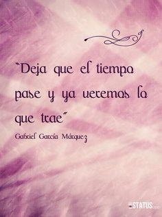 """Let time pass and we'll see what it brings. ( """"Deja que el tiempo pase y ya veremos lo que trae""""  )   ~~ Gabriel García Márquez"""