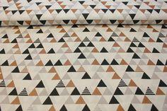 NOVINKY | Kolekce Art Deco 2 - trojúhelníky - šedá/černá/měď | LÁTKY METRÁŽ | PATCHWORK | GALANTERIE