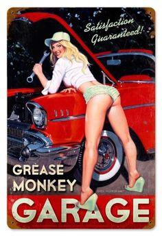 Vintage and Retro Wall Decor - JackandFriends.com - Vintage Grease Monkey Garage  - Pin-Up Girl Metal Sign, $39.97 (http://www.jackandfriends.com/vintage-grease-monkey-garage-metal-sign/)
