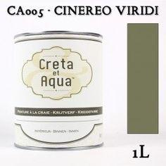 Krijtverf Creta et Aqua  1 Liter  Cinereo Viridi Oud groen - Verven zonder te schuren.