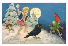 Künstler AK, verm. Fritz Baumgarten, Neujahr, Kind mit Zwerg, Wichtel und Rabe | eBay