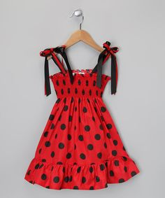 Take a look at this Red & Black Polka Dot Dress - Infant, Toddler & Girls by De n' L on #zulily today!