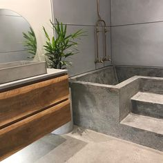Timber Vanity with Concrete