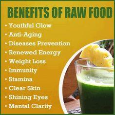 Beneficios de los alimentos crudos: juventud radiante, anti-edad, prevención de enfermedades, control de peso, defensas naturales, resistencia física, piel luminosa, ojos resplandecientes, claridad mental / Benefits of row food