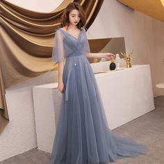 Elegant grey summer evening dresses 2019 a line princess v neck 1 2 sleeves appliques sequins sweep train ruffle backless formal dresses bal prom robes Summer Formal Dresses, Dresses Elegant, Pretty Dresses, Beautiful Dresses, Grad Dresses, Wedding Dresses, Mode Style, Dream Dress, Evening Dresses