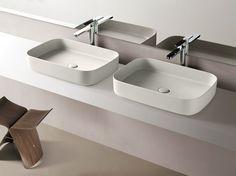 Lavabo da appoggio rettangolare in ceramica Collezione Shui Comfort by Ceramica Cielo   design Paolo D'Arrigo