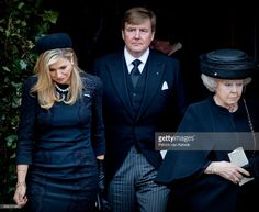 King Willem-Alexander, Queen Maxima and Princess Beatrix of The Netherlands attend the funeral of Prince Richard at the Evangelische Stadtkirche on March 21, 2017 in Bad Berleburg, Germany. Prince Richard, husband of Princess Benedikte of Denmark, died suddenly on March 13, 2017 at age 83.