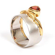 Silver and gold modern ring, art jewelry ring, G.Kabirski
