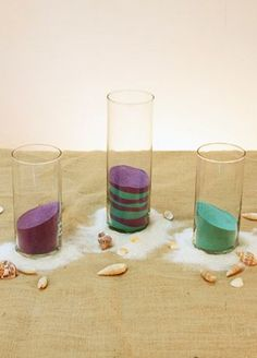 "These mulit-purpose glass cylinders can be used for candy buffets, candles, centerpieces and more. The possibilities are endless! Available in 3 sizes to help fulfill your wedding or special occasion needs. Features and Facts:  Small cylinder measures 6""H and 3 3/8"" in diameter. Holds about 2 lbs of sand.  Medium cylinder measures  7.5""H and 3 3/8"" in diameter. Holds about 2.25 lbs of sand.  Large cylinder measures 10.5""H and 3 3/8"" in diameter. Holds about 3.25"