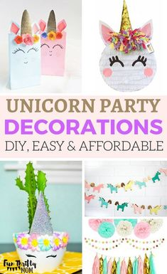 Unicorn Party Decoration Ideas. Some DIY some easy and affordable! Throw a fun unicorn birthday party for your little girl! Pretty decor items in pink, purple, teal and gold!