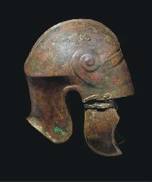 A CHALCIDIAN TYPE BRONZE HELMET 5TH-4TH CENTURY B.C.