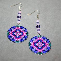 Wildflower Earrings Silver Dangle Boho Mandala by melbecreations