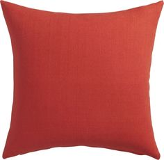 ahhh, linen.  Simple square of soft 100% linen is all about subtle texture and fresh color.  Red-orange weave pops the room with a bright, all-seasons comfort in a heavier weight that holds its shape.  Do the math: CB2 low prices include a pillow insert in your choice of plush feather or lofty down-alternative (a rare thing indeed).