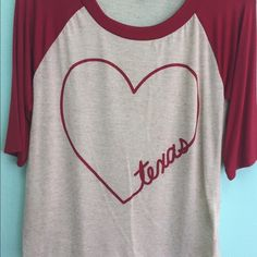 Boutique Red Texas Heart Shirt From my Boutique Shop. Red and Cream Heart Texas Shirt. Very light and comfy. Tops Blouses