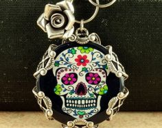 Sugar Skull Necklace with Matching Earrings Mexican Sugar