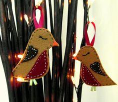 2x Felt  Sleeping Robin Christmas Decorations - Tree Hanging Decoration