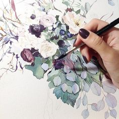 Pin by kelsey miller on art kunst, maling, farger Watercolor Techniques, Painting Techniques, Watercolor Flowers, Watercolor Paintings, Watercolours, Et Tattoo, Illustration Blume, Floral Drawing, Guache