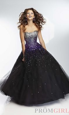 Long Strapless Sweetheart Ball Gown at PromGirl.com