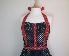 Retro apron with side ruffles White polka dots on by RosieAnnShop