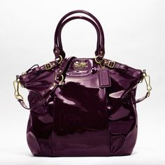 Coach Purple Patent Leather Lindsay - I love the secret pocket on the front!