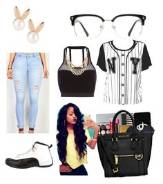 """""""black and white"""" by kalynnwaite on Polyvore featuring Aamaya by priyanka, GlassesUSA, Pacha and NIKE"""