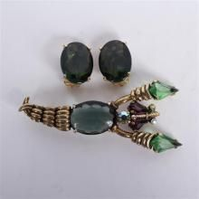 Elsa Schiaparelli 2pc. figural stylized Lobster pin/brooch & clip earrings with large smokey faceted jewels and emerald and amethyst...
